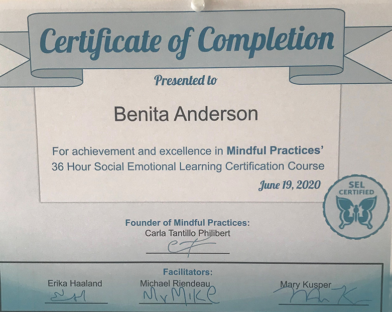Mindful Practices SEL Completion Certificate